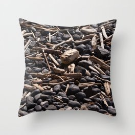 Yaquina Head Rocks and Driftwood Throw Pillow