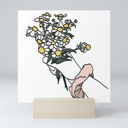 Wildflower Bunch with Pink Scrunchie Mini Art Print