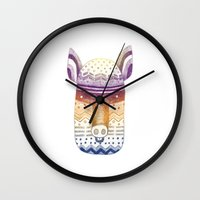 pig Wall Clocks featuring Pig by Tina Siuda