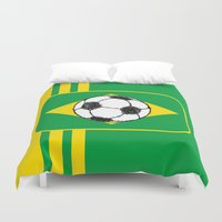 brazil Duvet Covers featuring Brazil Flag Football Sketch by mailboxdisco