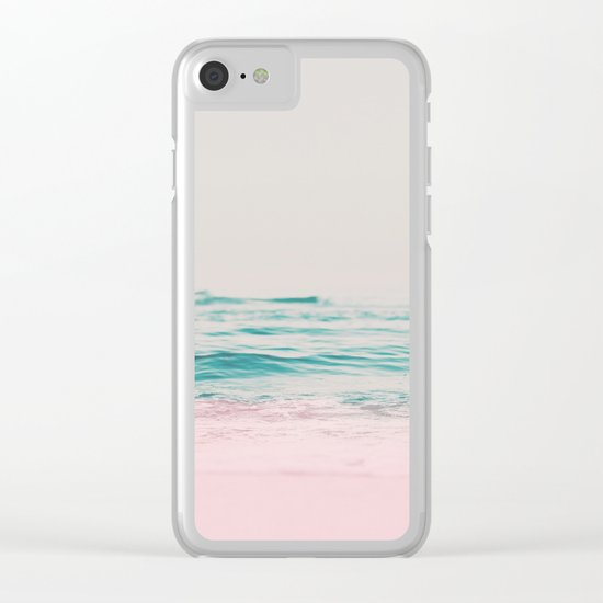 Vintage Pastel Ocean Waves Clear iPhone Case