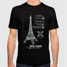 Eiffel Tower Mens Fitted Tee SMALL Black