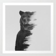 Observing Bear (black & white version) Art Print