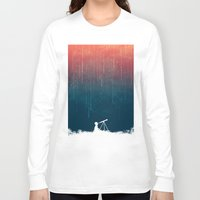 night Long Sleeve T-shirts featuring Meteor rain by Picomodi
