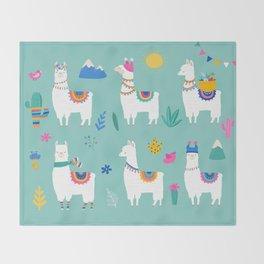 Hola, Llama Throw Blanket