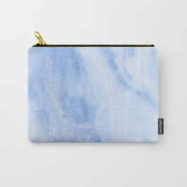 Shimmery Pure Cerulean Blue Marble Metallic Carry-All Pouch