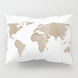 World Map - Beige Watercolor Minimal on White Pillow Sham