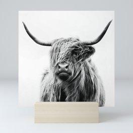Black & White HQ Highland Scotland Cow Portrait Mini Art Print