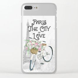 Vintage Paris Bicycle with Flowers Clear iPhone Case