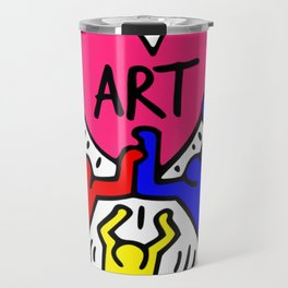 "Keith Haring inspired ""I Love Art"" Primary Colors edition Travel Mug"