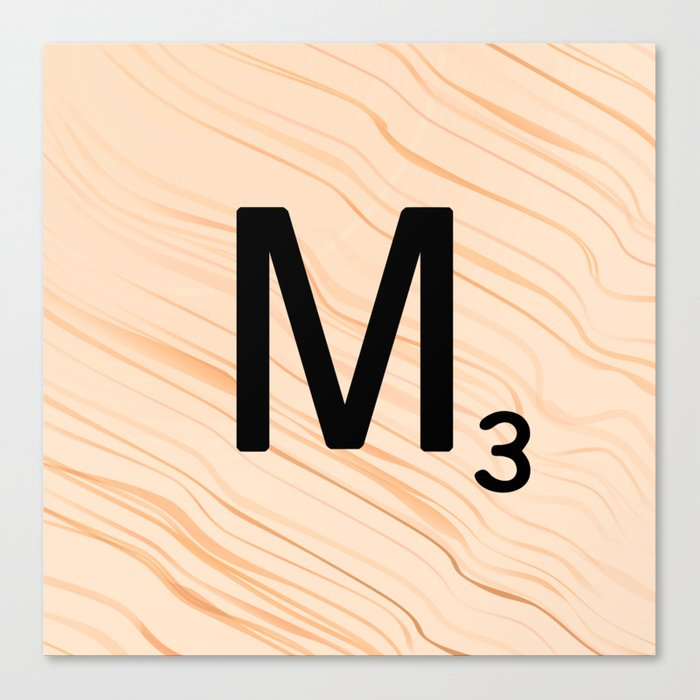 Scrabble Letter M - Large Scrabble Tiles Canvas Print
