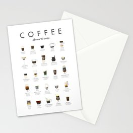 Coffee Chart - Around The World Stationery Cards