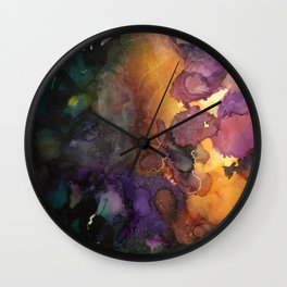 Abstract in Purple and Orange Wall Clock