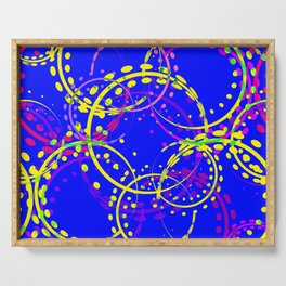Bright explosive curls and circles of yellow and pink shades on a blue background. Serving Tray