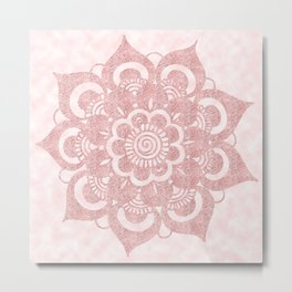 Elegant Rose Gold Mandala Metal Print