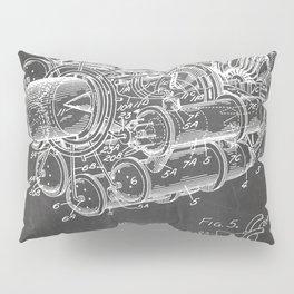 Airplane Jet Engine Patent - Airline Engine Art - Black Chalkboard Pillow Sham