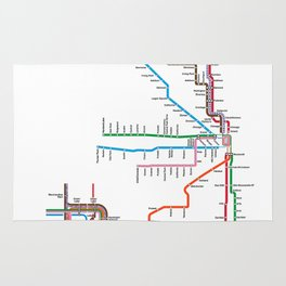 Chicago CTA Map, Chicago Wall Art, CTA Art Print Rug