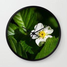 Wild Strawberry Flower Wall Clock