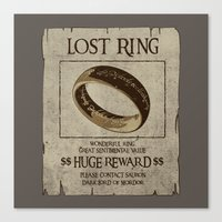 lord of the ring Canvas Prints featuring Lost Ring by le.duc