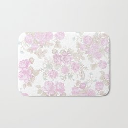 Vintage chic pastel pink green romantic roses floral Bath Mat