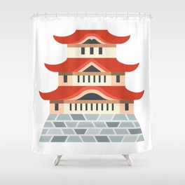 Japanese Temple Emoji Shower Curtain