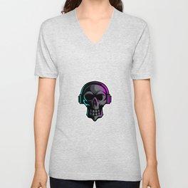 Black Skull Earphone Mascot Esport Logo Template Unisex V-Neck