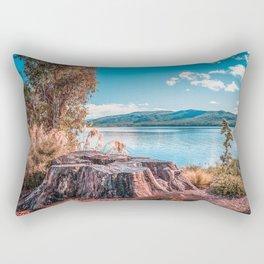 Lake Te Anau with big tree stump on the foreground, Fiordland, South Island, New Zealand Rectangular Pillow