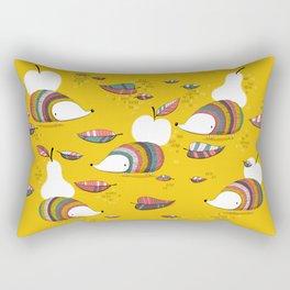 Lovely hedgehogs carrying fruits Rectangular Pillow