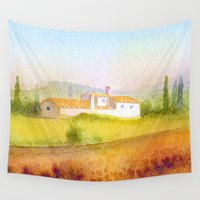 italian Wall Tapestries featuring Italian villa by Carl Conway