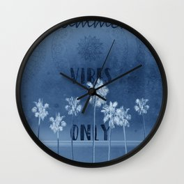 summer vibes only vintage blue Wall Clock