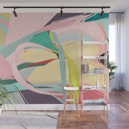Shapes and Layers no.23 - Abstract Draper pink, green, blue, yellow Wall Mural