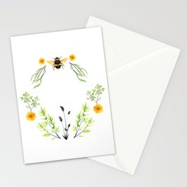 Bees in the Garden - Watercolor Graphic Stationery Cards