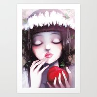 snow white Art Prints featuring Snow white by Ludovic Jacqz