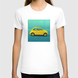 Classic Yellow 500 on Blue T-shirt