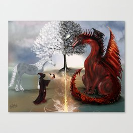 The Owl,Wizard,Unicorn and the Dragon Canvas Print