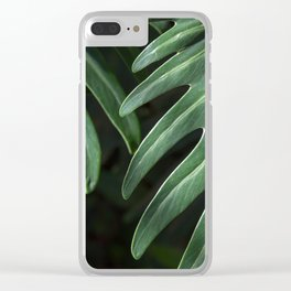 Tropical Leaves on Black Clear iPhone Case