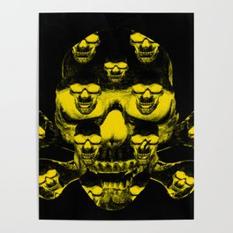 Yellow skull on a black Poster