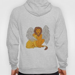 Winged Lion With Cub Under Its Wing Drawing Hoody