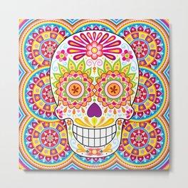 Psychedelic Sugar Skull (Polychromasia) Metal Print