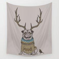 Deer Pug Wall Tapestry
