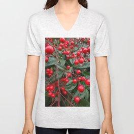 Winter Berries 8x12 Unisex V-Neck