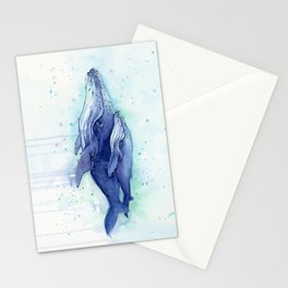 Humpback Whale Watercolor Mom and Baby Painting Whales Sea Creatures Stationery Cards