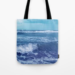 Blue Atlantic Ocean White Cap Waves Clouds in Sky Photograph Tote Bag