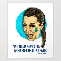 kim kardashian Art Prints featuring Ugly Cry: Kim Kardashian Edition.  by Amelia Jude