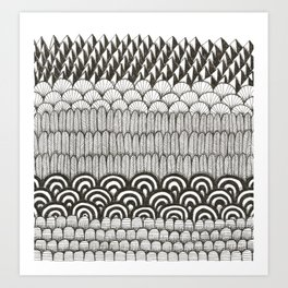 layered black and white doodle pattern Art Print