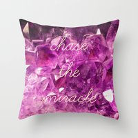 minerals Throw Pillows featuring chase the miracle on minerals by mb13