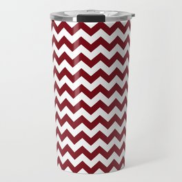 Burgundy white modern geometrical chevron pattern Travel Mug