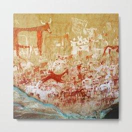Ancient African Cave Art - The Herd Metal Print