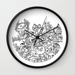 Surreal Landscape with bizarre creatures Wall Clock