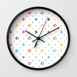 Dustin Drake Colored Logo Pattern White Wall Clock